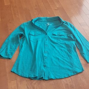 Teal Button Down Top